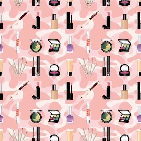 seamless makeup pattern Stock Photo - Budget Royalty-Free & Subscription, Code: 400-04338694