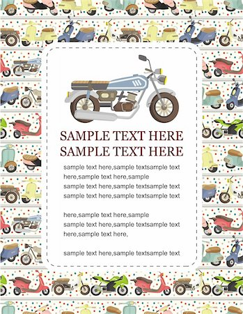 sports scooters - CARTOON MOTORCYCLE CARD Stock Photo - Budget Royalty-Free & Subscription, Code: 400-04338804