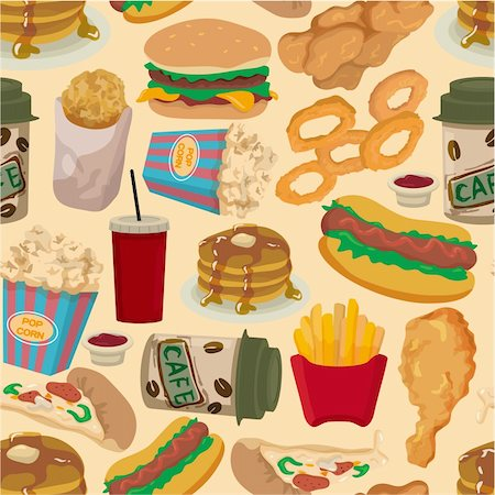 sandwich wrapper - seamless fast food pattern Stock Photo - Budget Royalty-Free & Subscription, Code: 400-04338812