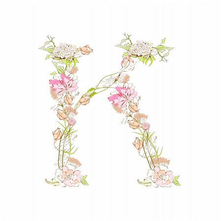 Spring floral font, Letter K Stock Photo - Budget Royalty-Free & Subscription, Code: 400-04339677