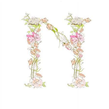 Spring floral font, Letter N Stock Photo - Budget Royalty-Free & Subscription, Code: 400-04339681