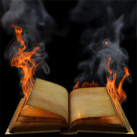 smoke magic abstract - old empty open book in the flame. isolated on black. Stock Photo - Budget Royalty-Free & Subscription, Code: 400-04331044