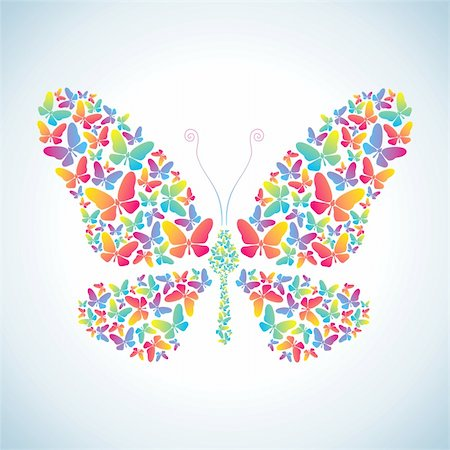 Illustration of butterflies, which consists of many colorful butterflies Stock Photo - Budget Royalty-Free & Subscription, Code: 400-04331125