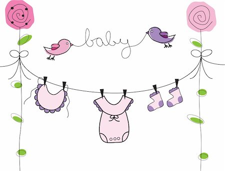 Cute baby girl clothes line Stock Photo - Budget Royalty-Free & Subscription, Code: 400-04331441