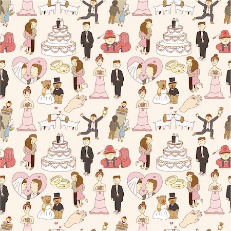 seamless wedding pattern Stock Photo - Budget Royalty-Free & Subscription, Code: 400-04333186