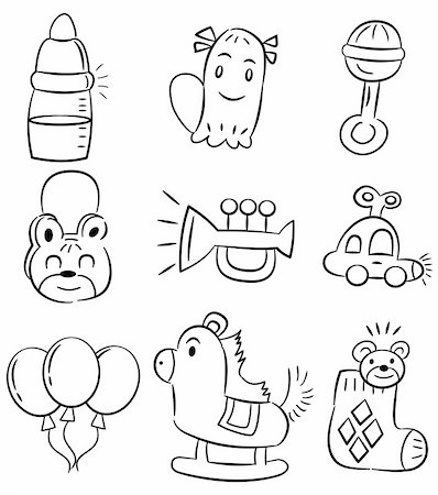 hand draw cartoon baby toy icon Stock Photo - Budget Royalty-Free & Subscription, Code: 400-04333189