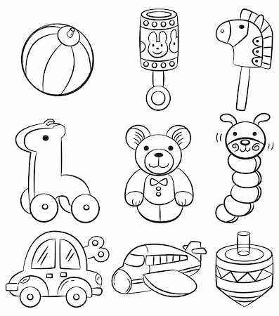 hand draw cartoon baby toy icon Stock Photo - Budget Royalty-Free & Subscription, Code: 400-04333200