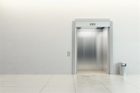 modern elevator with open doors Stock Photo - Budget Royalty-Free & Subscription, Code: 400-04333419