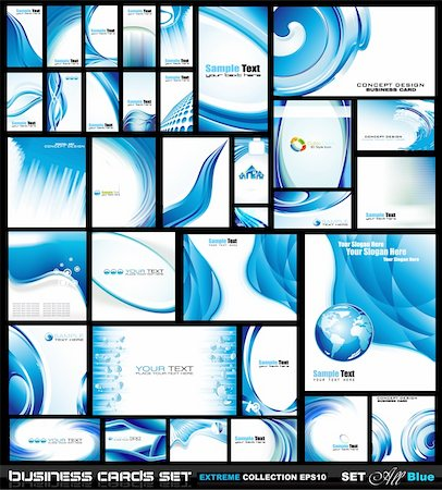 Corporate Business Card Collection: Blue Waves Stock Photo - Budget Royalty-Free & Subscription, Code: 400-04333432