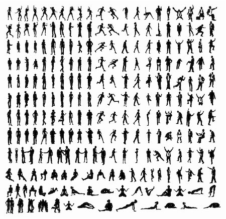 Many very detailed silhouettes including business, dancers, yoga etc. Stock Photo - Budget Royalty-Free & Subscription, Code: 400-04333465