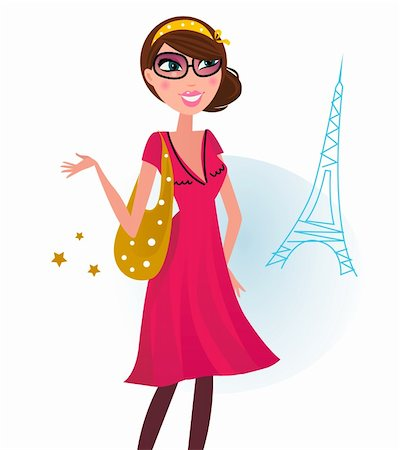 pretty pink star white background - Woman in romance red dress with shopping bag in Paris. Vector Illustration. Stock Photo - Budget Royalty-Free & Subscription, Code: 400-04333662