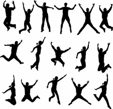 simsearch:400-04222950,k - jumping people silhouettes - vector Stock Photo - Budget Royalty-Free & Subscription, Code: 400-04344809