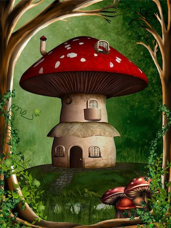 a dwarf house hidden in the forest Stock Photo - Budget Royalty-Free & Subscription, Code: 400-04344965