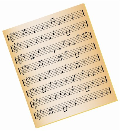 Sheet music on gold color paper Stock Photo - Budget Royalty-Free & Subscription, Code: 400-04345223