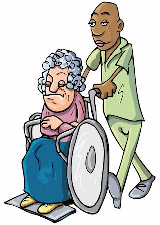 Cartoon of a black orderly pushing an old lady in a wheelchair Stock Photo - Budget Royalty-Free & Subscription, Code: 400-04346063