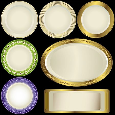Set white plates with vintage ornament on black background (vector) Stock Photo - Budget Royalty-Free & Subscription, Code: 400-04346533