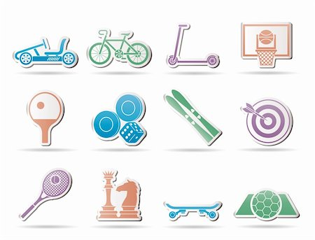 sports scooters - sports equipment and objects icons - vector icon set 2 Stock Photo - Budget Royalty-Free & Subscription, Code: 400-04346918
