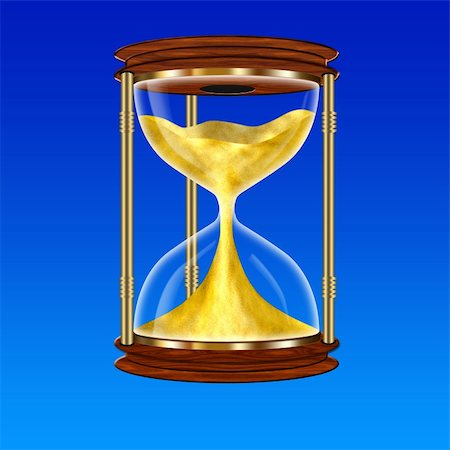 sand clock - Hourglass on a blue background, drawing in Photoshop. Stock Photo - Budget Royalty-Free & Subscription, Code: 400-04347262