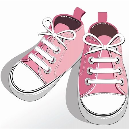 elakwasniewski (artist) - Pink childrens or young adult shoes, pair kids sneaker, pink   girls shoes. Vector illustration. Stock Photo - Budget Royalty-Free & Subscription, Code: 400-04347351