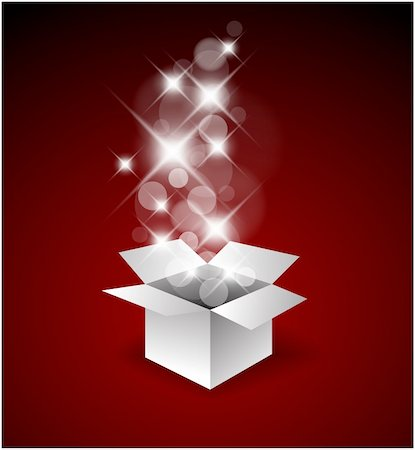 Magic gift box with a big surprise - christmas illustration Stock Photo - Budget Royalty-Free & Subscription, Code: 400-04347495