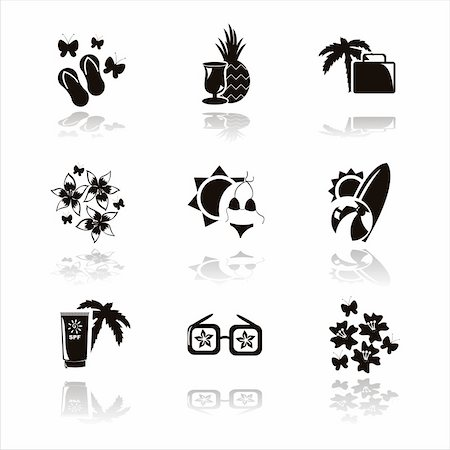 set of 9 black summer vacation icons Stock Photo - Budget Royalty-Free & Subscription, Code: 400-04347853