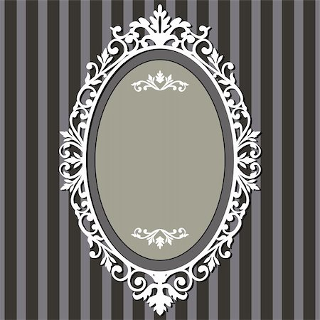 Decorative oval frame on stripe grey background with space for your text, vector illustration. Stock Photo - Budget Royalty-Free & Subscription, Code: 400-04348023