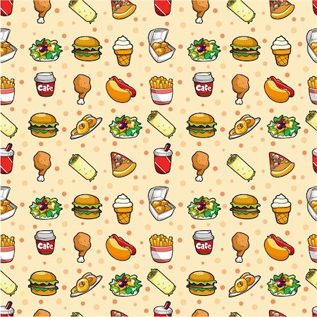 sandwich wrapper - seamless fast food pattern Stock Photo - Budget Royalty-Free & Subscription, Code: 400-04348035