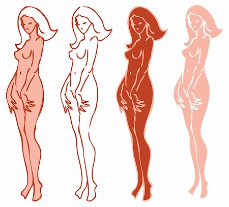 4 emblems variations of beautiful nude woman silhouette Stock Photo - Budget Royalty-Free & Subscription, Code: 400-04348069