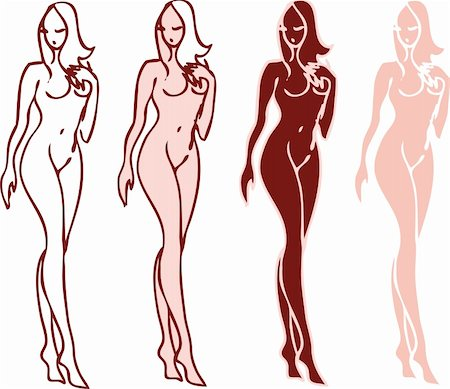 beautiful nude woman silhouettes vector sketch emblems Stock Photo - Budget Royalty-Free & Subscription, Code: 400-04348070