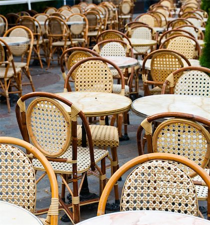 Street view of a Cafe terrace with empty tables and chairs,paris France Stock Photo - Budget Royalty-Free & Subscription, Code: 400-04348126