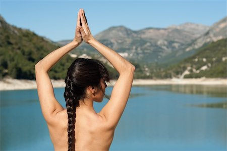 Early morning yoga at a scenic lakeside setting Stock Photo - Budget Royalty-Free & Subscription, Code: 400-04348195
