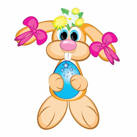 flower clipart paint - Easter Bunny Girl with colored egg. Easter card on white Stock Photo - Budget Royalty-Free & Subscription, Code: 400-04348424
