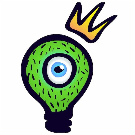Green light bulb with eye and crown. Stock Photo - Budget Royalty-Free & Subscription, Code: 400-04348898