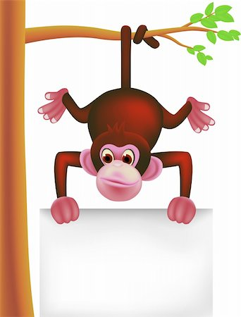 smiling chimpanzee - cute monkey and blank sign Stock Photo - Budget Royalty-Free & Subscription, Code: 400-04349094
