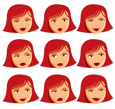 Beauty girl face illustration. Set of emotions expressions Stock Photo - Budget Royalty-Free & Subscription, Code: 400-04349362