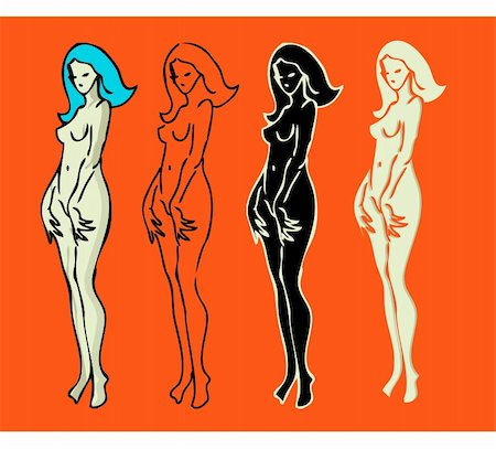 4 emblems variations of beautiful nude woman silhouette Stock Photo - Budget Royalty-Free & Subscription, Code: 400-04340158