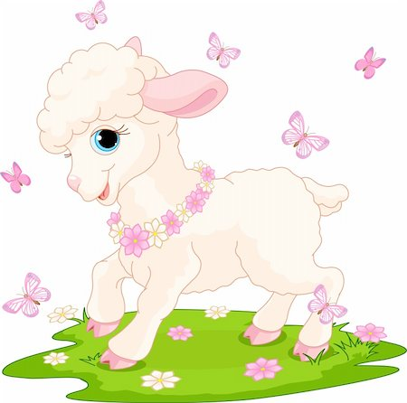 Spring background with Easter lamb and butterflies Stock Photo - Budget Royalty-Free & Subscription, Code: 400-04340642