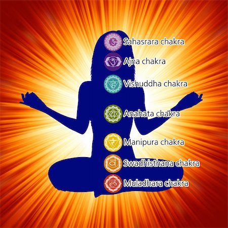 Woman in lotus position with the seven chakras. EPS 8 vector file included Stock Photo - Budget Royalty-Free & Subscription, Code: 400-04342354