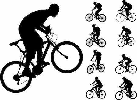 bicyclists silhouettes collection - vector Stock Photo - Budget Royalty-Free & Subscription, Code: 400-04342447