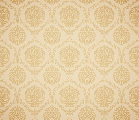 Damask seamless floral pattern. Vintage vector illustration. Stock Photo - Budget Royalty-Free & Subscription, Code: 400-04342465