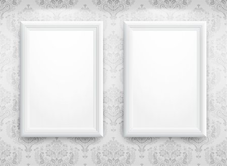 3d empty frames on the wall. Vintage background Stock Photo - Budget Royalty-Free & Subscription, Code: 400-04342463