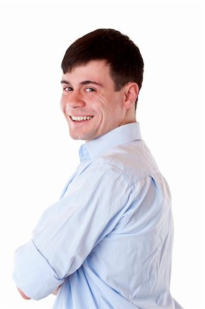 Young handsome man with crossed arms smiles happy at camera Freigestellt auf weißem Hintergrund. Stock Photo - Budget Royalty-Free & Subscription, Code: 400-04342572