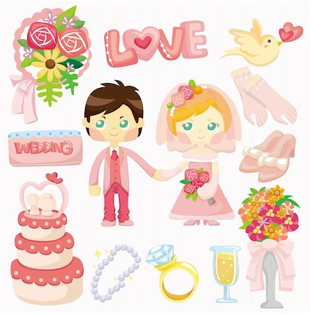 cartoon wedding set icon Stock Photo - Budget Royalty-Free & Subscription, Code: 400-04343476