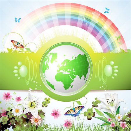 Eco Green Earth with flowers, butterflies and rainbow Stock Photo - Budget Royalty-Free & Subscription, Code: 400-04343586