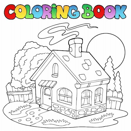 Coloring book with small house - vector illustration. Stock Photo - Budget Royalty-Free & Subscription, Code: 400-04343838