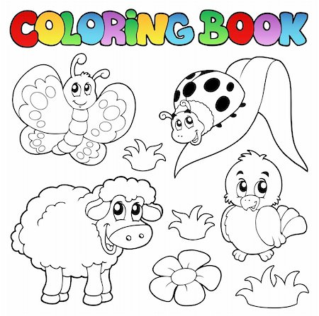 Coloring book with spring animals - vector illustration. Stock Photo - Budget Royalty-Free & Subscription, Code: 400-04343839