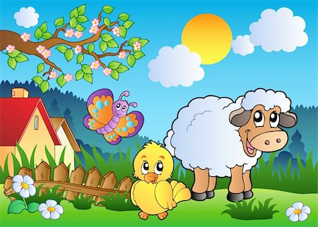 Meadow with happy spring animals - vector illustration. Stock Photo - Budget Royalty-Free & Subscription, Code: 400-04343855