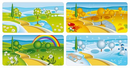 Set of four seasons banners. Vector Illustration (EPS v. 10) Stock Photo - Budget Royalty-Free & Subscription, Code: 400-04354167