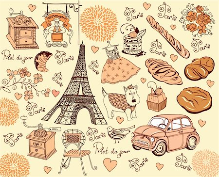 Hand drawing collection symbols of Paris Stock Photo - Budget Royalty-Free & Subscription, Code: 400-04354573