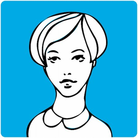 face woman beautiful clipart - Cartoon young beauty woman face one of a series of similar image Stock Photo - Budget Royalty-Free & Subscription, Code: 400-04354917